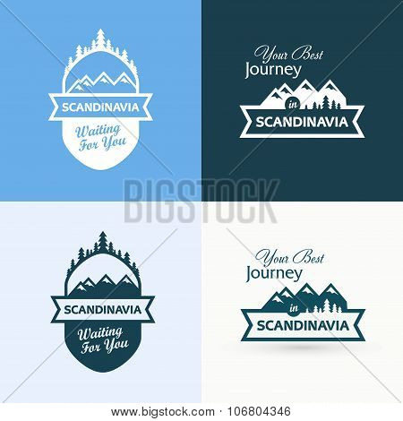 Set Of Badges With Scandinavian Landscapes