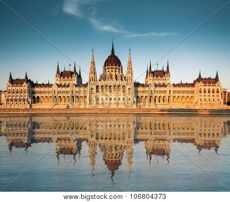 panoramic view on Hungarian Parliament from the Danube river