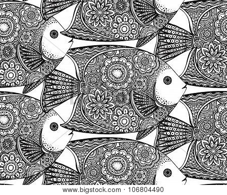 Vector Seamless Pattern With Hand Drawn Fish