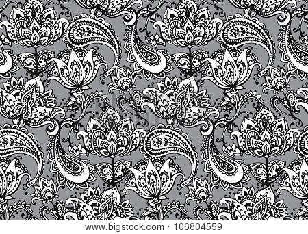 Vector Seamless Pattern With Hand Drawn Henna  Design Elements