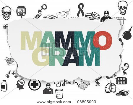 Medicine concept: Mammogram on Torn Paper background