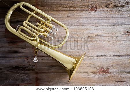 Baritone Horn On A Wooden Floor With Copy Space