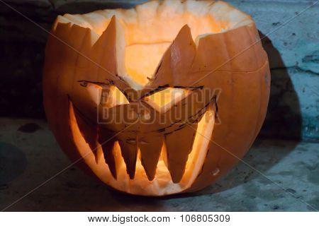 Demonic Halloween pumpkin. Pumpkin fest, Budapest 2015