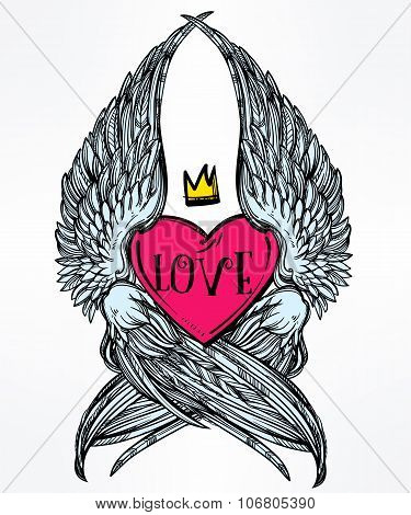 Heart with angel wings and crown.