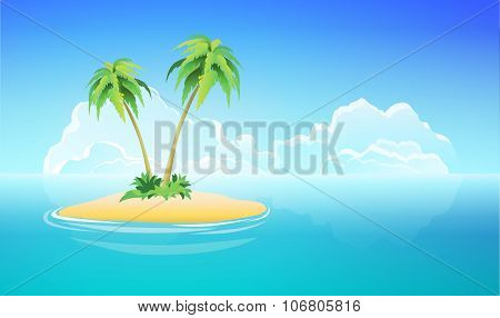 Tropical Island, Vector Nature Landscape Illustration