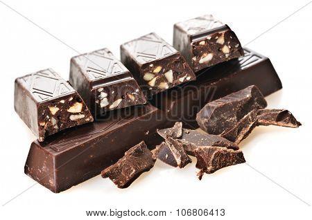 Cut chunks of a chocolate bar