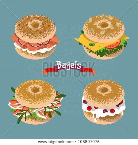 Set Of 4 Bagels With Various Topping.
