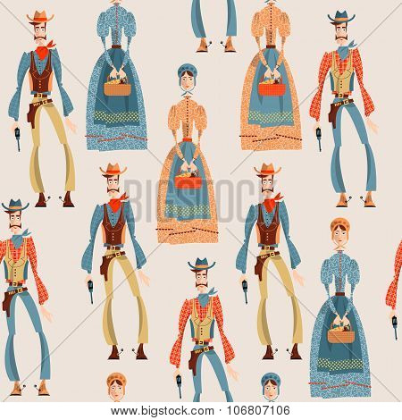 Wild West. Cowboy And Girl. Seamless Background Pattern