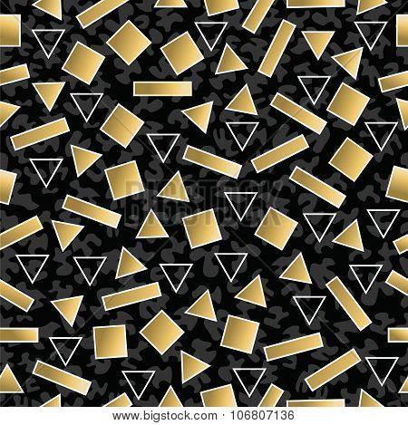 Retro 80S Geometry Seamless Pattern Gold Shape