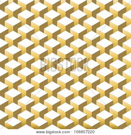 Gold Isometric 3D Retro Cube Seamless Pattern