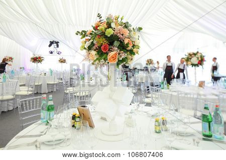 bouquet of flowers  wedding tent