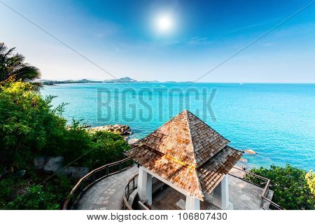 Tropical beach and Cottage on the island Samui, Thailand