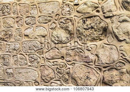 Decorated Stone Wall In The Armenian Quarter Of The Old City. Jerusalem. Israel