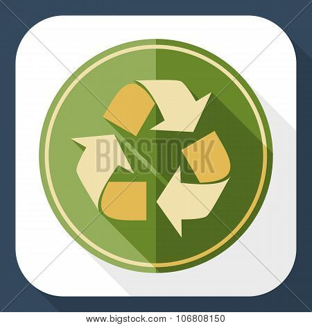 Recycling Icon With Long Shadow