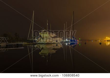 Water Ships In Port At Night