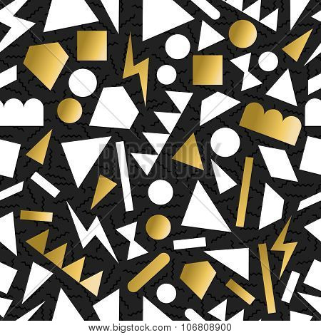 Gold 80S 90S Retro Seamless Pattern Background