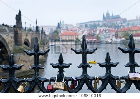Prague Riverbank With Locks Of Love