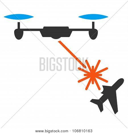 Laser Drone Attacks Airplane Icon