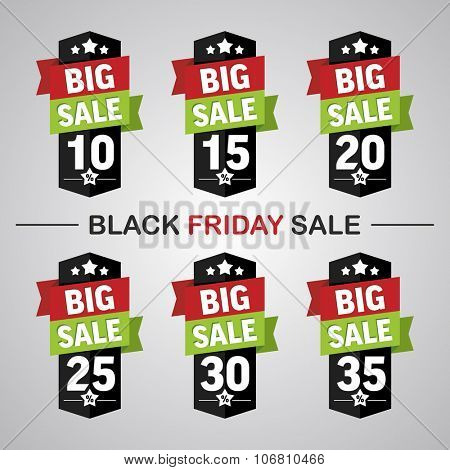 Set of labels 10-35% with text big sale for black friday sales