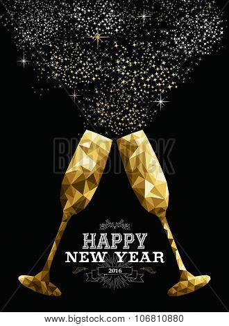 Happy New Year 2016 Toast Glass Low Polygon Gold