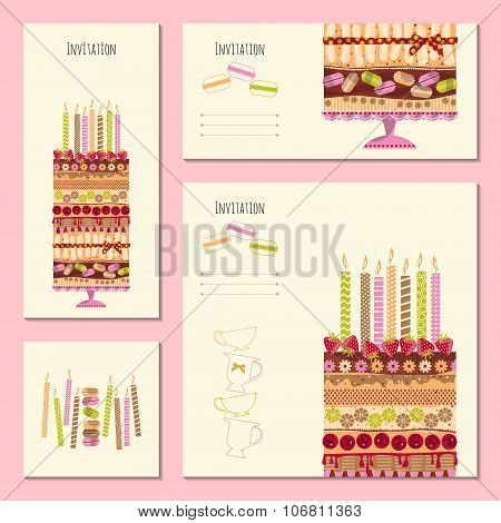 4 Invitation Cards With Big Multilayer Cake. Template. Birthday, Anniversary, Children's Party, Spec