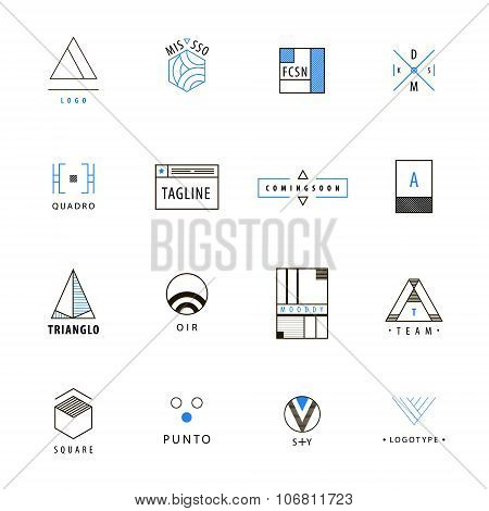Vector set of minimal geometric hipster logos, icons, signs.