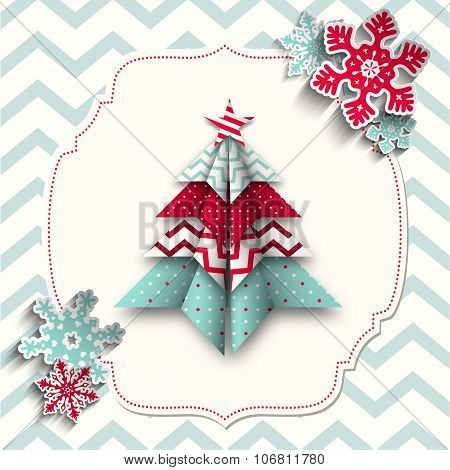 colorful origami tree with snowflakes, abstract christmas illustration