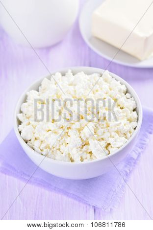 Curd Cheese In White Bowl