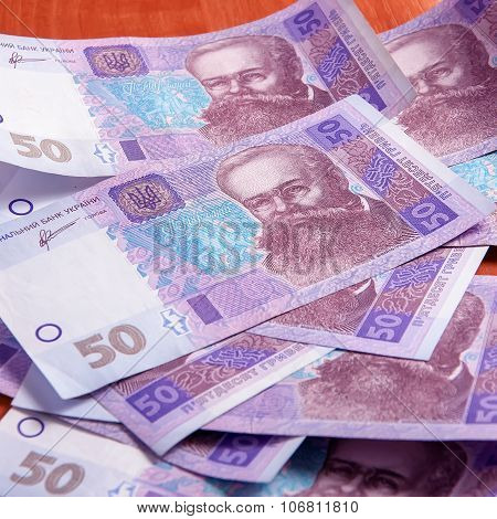 Background A Lot Of Ukrainian Hryvnia Fifty