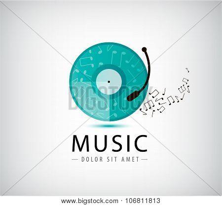 Music vinyl logo, icon.