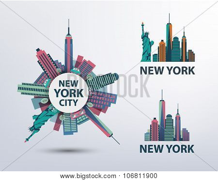 Vector set of NYC, New York City icons, logos, illustrations, banners