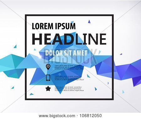 Vector Poster, Banner, Flyer, Cover, Brochure Template design. Modern crystal 3d shape with text spa