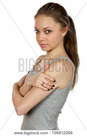 beautiful Girl Isolated On A White Background