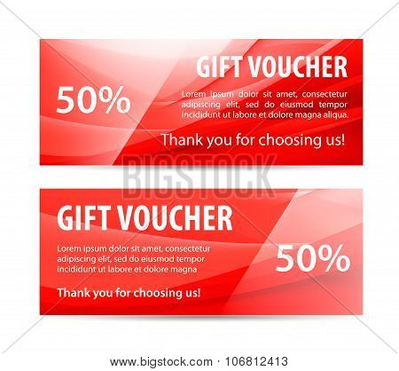 Vector set of gift vouchers with wavy shiny red