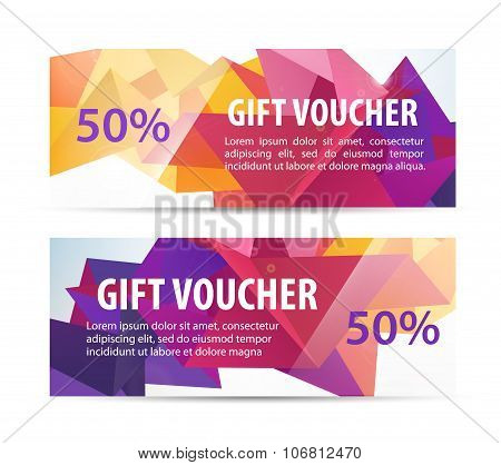 Vector set of colorful faceted gift vouchers, coupons
