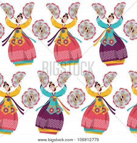Korean Women Performing A Traditional Fan Dance. Korean Tradition. Seamless Background Pattern.