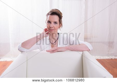 Portrait Attractive Woman With Backlight