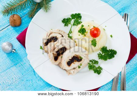 Chicken Roll With Prunes And Nuts In A New Year's Eve