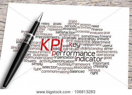 Close Up Pen And Kpi Word Cloud