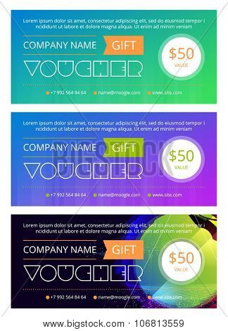 Gift voucher template with clean and modern pattern, Vector illustration