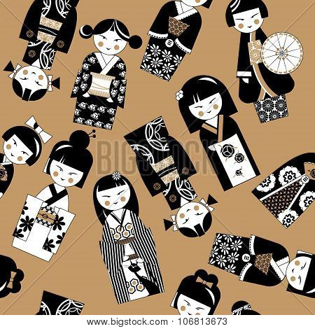 Traditional Japanese Doll. Kokeshi Dolls. Black And White. Seamless Background Pattern.
