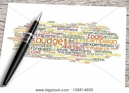 Close Up Pen And Budget Word Cloud