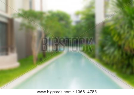 Abstract blur luxury villas with swimming pool