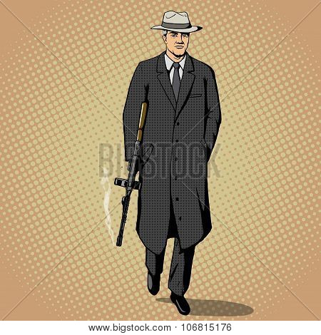 Gangster with gun walking pop art style vector