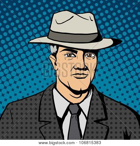 Gangster man with hat  pop art vector