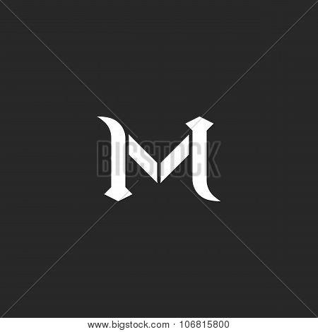Letter M Logo, Medieval Style Wedding Invitation Mockup, Vintage Calligraphic Design Element For Bus