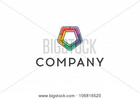 Pentagon. Logo Design Vector Element, Multicolored