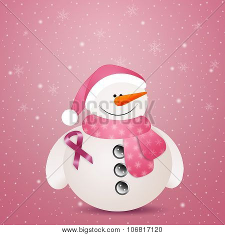 Pink Snowman With Pink Ribbon