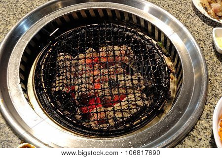 Gridiron Over The Charcoal Grill Stove Korean Style