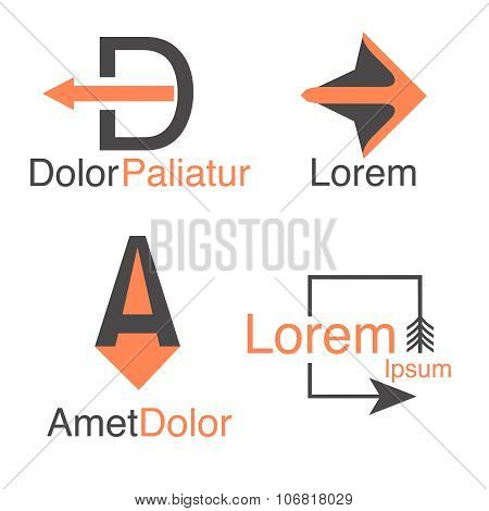 Arrow abstract logo template.  Company logotypes and symblos